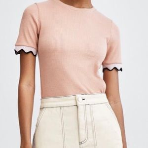 Zara Pink Ribbed Top with Contrasting Sleeves